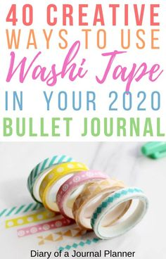 Planning out your 2020 bullet journal? Don't leave out these awesome page ideas featuring washi tape! Bullet Journal Washi Tape, Making A Bullet Journal, Bullet Journal And Diary, Bullet Journal For Beginners, Bullet Journal Hacks, Bullet Journal How To Start A, Bullet Journal Spread, Bullet Journal Layout, Bullet Journal Inspiration