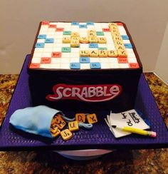 Scrabble Cake chocolate cake with gumpaste and fondant accents. 90th Birthday Cakes, Creative Birthday Cakes, Creative Cakes, 75th Birthday, Birthday Ideas, Cupcakes, Cupcake Cakes, Cupcake Ideas, Mini Cakes