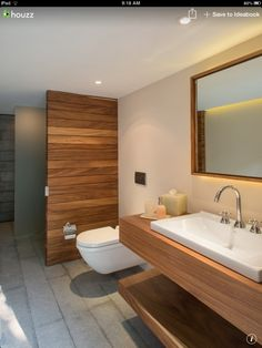 Timber feature wall and vanity