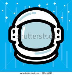 Flat Style Line Illustration of Astronaut Helmet Icon