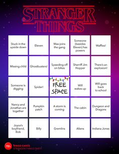 If youre throwing a Stranger Things viewing party for the season 2 on Netflix, this Bingo set is a must have! Get 20 uniquely different bingo cards filled with iconic 80s trends, Stranger Things season 2 theories, and all your favorite characters.. This game is formatted to print on a standard letter size paper (8.5 x 11). ==================== YOU WILL RECEIVE =====...