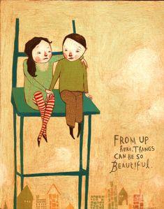 Rebecca Green artist....Comforting a friend....