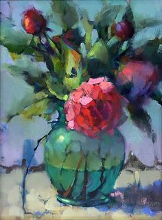 Peonies in Green Vase by Trisha Adams Oil ~ 16 x 12