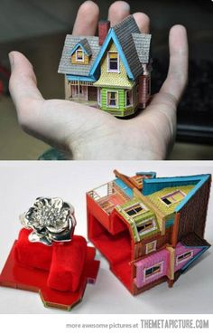 "The house from ""Up"" as a ring box. Marry him! MARRY HIM NOW!"