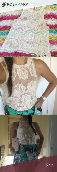 Beautiful White Lace Abercrombie Top Beautiful and refined white lace see-through shirt from Abercrombie. Great condition, no rips/stains/tears/smells. Super cute for date night. Abercrombie & Fitch Tops Tank Tops