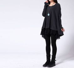 This is so sweet! Possible dark/gothic Mori dress. - Two Piece sweater/Sweater dress on Etsy, $65.00 - LR