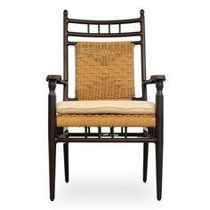 Lloyd Flanders Low Country Dining Arm Chair with Cushion Fabric: Spectrum Crimson, Sunbrella