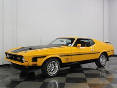 72 Mach Canary Yellow Ford Mustang 1967, Mustang Mach 1, Mustang Cars, Car Ford, My Dream Car, Dream Cars, Monster Car, Eco Friendly Cars, Classic Mustang