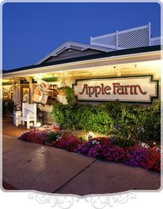 "Apple Farm in San Luis Obispo California. Best Breakfast and Inn in the area. Every meal and item is home-style fresh. Their baked apples ""Apple Annie"" is sinful as are their Cinnamon Rolls. Worth the stop off in their Gift shop too. Easy access to Hwy 101 on Monterey Avenue. Popular place too."
