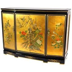 Red Lantern Gold Leaf Slant Front Cabinet at Lowe's. This Gold Leaf Slant Front Cabinet is overlaid with striking gold leaf, then hand-painted with a delicate birds and flowers design. Lacquer Furniture, Accent Furniture, Living Room Furniture, Painted Furniture, Furniture Storage, Buffets Furniture, Cabinet Furniture, Upholstered Furniture, Asian Furniture