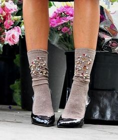 shoes with embellished socks