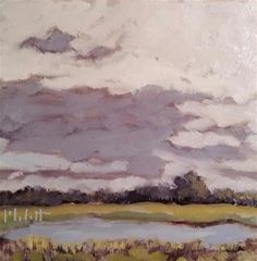 "Daily Paintworks - ""Gray Day Eagle Marsh Landscape Original Oil Painting Heidi Malott"" - Original Fine Art for Sale - © Heidi Malott"