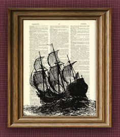 GALLEON Ship at sea illustration beautifully upcycled dictionary page book art… Recycled Art Projects, Arts And Crafts Projects, Recycled Crafts, Diy Projects, Pallet Projects, Meer Illustration, Simple Comme Bonjour, Recycling, Art Projects For Adults