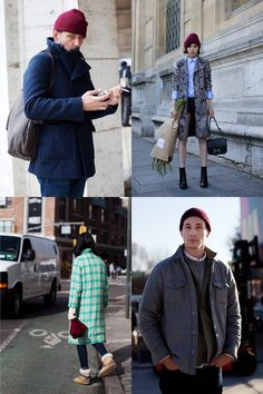I really like the du in the top left.    If You're Thinking About….. Raspberry Knit Caps « The Sartorialist