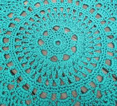 Turquoise Patio Porch Cord Crochet Rug in 35 by byCamilleDesigns