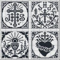 Four squares with Catholic cross stitch Filet Crochet, Crochet Cross, Crochet Chart, Cross Stitch Numbers, Cross Stitch Heart, Cross Stitching, Cross Stitch Embroidery, Embroidery Patterns, Cross Stitch Designs