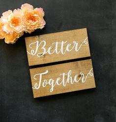 Better Together Signs Rustic Chair Signs Wood Wedding Signs Photo Props Shabby Chic Woodland Wedding Signs Rustic Wedding Signs by justforkeeps