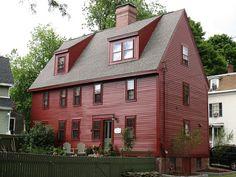 Ephraim B. Harris House, Ephraim B. Early American Homes, American Houses, Red Houses, Saltbox Houses, New England Style Homes, England Houses, Harris House, Colonial Architecture, Colonial House Exteriors