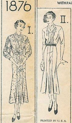 Simplicity 1876 | ca. 1935 MIsses' Dress