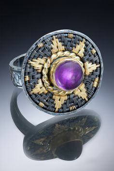 Woven and oxidized sterling with amethyst from Sally Craig Wonderful Things, Sally, Metal Working, Hand Weaving, Amethyst, Gemstone Rings, Wire, Silver, Gold