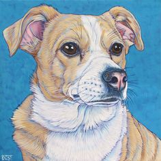 """Ellie the Jack Russell Terrier and Chihuahua Mixed Breed was rescued as a puppy from a tiny cat carrier with a broken leg, covered in urine. Now she is all grown up and runs her house as a beloved lap dog. Custom Pet Portrait Painting in Acrylic Paint on 12"""" x 12"""" Canvas from Pet Portraits by Bethany."""