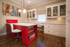 Frank House - traditional - home office - houston - by Maison Market; fun splash of color in the desk