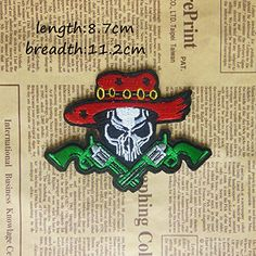 FairyTeller 1Pcs Wear A Red Hat Of Skulls Embroidery Patches Diy Accessories Embroidered Iron-On Patch Skull Cowboy And New Weapons * You can find out more details at the link of the image.