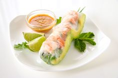 Shrimp and Avocado Summer Rolls (Fresh Spring Rolls) Shrimp Spring Rolls, Fresh Spring Rolls, Summer Rolls, Fresh Rolls, Peanut Dipping Sauces, Shrimp Avocado, How To Cook Rice, Thing 1, Everyday Food