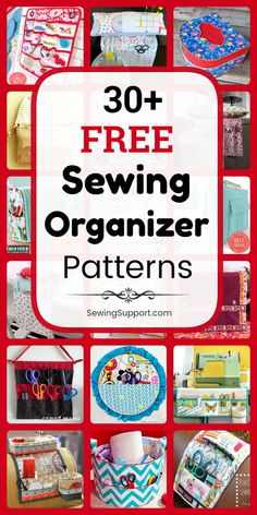 free sewing organizer patterns, projects, and diy tutorials to help you with the organization of your sewing room. Get ideas for wall storage, portable sewing bags and baskets Diy Sewing Projects, Sewing Hacks, Sewing Tutorials, Sewing Ideas, Sewing Room Decor, Sewing Rooms, Sewing Patterns Free, Free Sewing, Sewing Diy