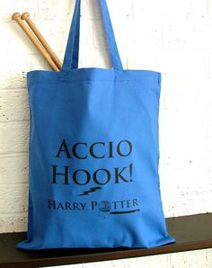 Harry Potter  crochet project bag.  Make it a library bag that says accio book!