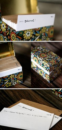 Daily journal in a recipe box with index cards. Love this! Stamp one date per card, then each day, write one memory (no more than one line). The following year, add another line...how cool this will be in a few years! And fun to share with your spouse or kids too.