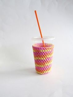 iced coffee cozy. Crochet coffee cozy. pink cup by SalemStyle