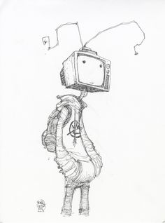 "skottieyoung:  ""#DailySketch TV Head. Original art available http://skottieyoungstore.bigcartel.com  """