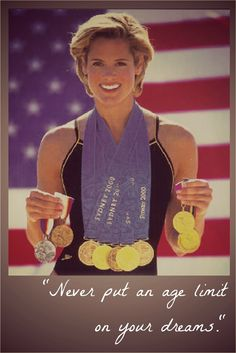 """""""Never put an age limit on your dreams"""" - Dara Grace Torres is an American international swimmer and a twelve-time Olympic medalist. No matter how old I get, I hope to keep swimming! It's good to soak my head and cool my heels. Olympic Swimming, Swimming Diving, Keep Swimming, Olympic Medals, Olympic Games, Michael Phelps, Swimming Motivation, Competitive Swimming, Olympic Athletes"""