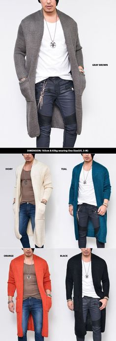 Mens Chunky Knit Open Long Sweater-Cardigan 160 by Guylook.com