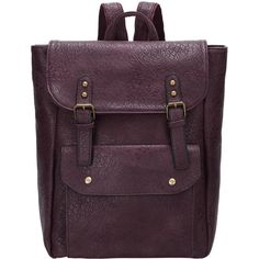 Purplish Red Magnetic Flap Over PU Backpack ($25) ❤ liked on Polyvore featuring bags, backpacks, red, purple backpack, pu bag, purple bag, backpacks bags and polyurethane bags