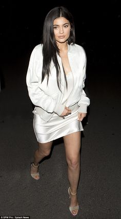 Kylie Jenner looks leggy in silk slip dress as she hits the town with sister Kendall | Daily Mail Online