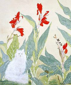 stilllifequickheart:  Chou Nien-Tsu White Cat and Red Flowers, detail 18th - 19th century
