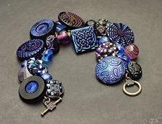 Vintage Button Bracelet Iridescent Blue and Purple