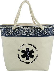 "Americana Bandana Cotton Tote  Part of our Americana trend collection, this tote's iconic blue bandana print will take you back to the glory days. Open main compartment. Soft cotton rope handles. 10"" handle drop height. 13.25"" H x 18.5"" W x 6.5"" L  www.marketsharepromos.com"