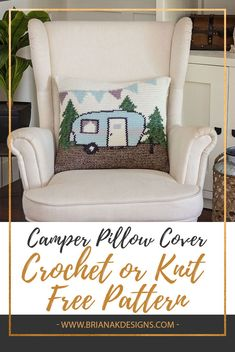 It's the season of campfires, s'mores, and hanging out with family and friends in the great outdoors. I have such fond memories of camping in the Idaho mountains as a child. Bring a little bit of the camping spirit to your home with this FREE Crochet or Knit Camper Pillow Cover Pattern by Briana K Designs #crochetpattern #knitpattern #homedecor #freepattern