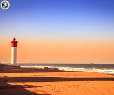 Umhlanga Lighthouse in Durban, South Africa Kwazulu Natal, Light House, Cheap Flights, South Africa, Nautical, Landscaping, African, Magazine, Sunset