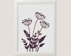 retro Floral cross stitch pattern, Modern cute flower grass counted chart, nature cross stitch,  Easy beginner cross stitch, room DIY decor