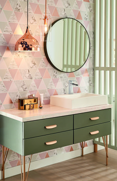 Enhance your space with the innovative Ara® Bathroom Collection of bathroom products now available from Delta Faucet. Rose Gold Lights, Shower Diverter, Bathroom Collections, Delta Faucets, Article Design, Pink Wallpaper, Chrome Finish, Kitchen And Bath, Own Home