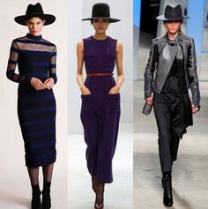 Charlotte Ronson, Barbara Casasola, Kenneth Cole Collection; love the look of the menswear hat with the sleek dresses
