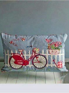 "Embroidery Blessings Ideas ~Have A Blessed Day~ ""Old Fashion Vintage Farmer's Wife"" ~~Bicycle Cushion Applique Cushions, Cute Cushions, Cute Pillows, Sewing Pillows, Owl Pillows, Burlap Pillows, Applique Patterns, Embroidery Applique, Machine Embroidery"