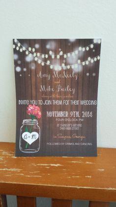 Wooden Mason Jar Wedding Invitation