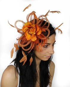 Burnt Orange Fascinator Hat for Kentucky Derby by Hatsbycressida, $100.00