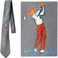 1960's Men's Vintage Golf Necktie Hand Painted Golfer Tie 50% off During the Red Tag Sale starting April 22nd at Toinette's on Ruby Lane.