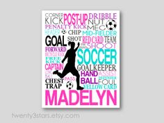Girl's Soccer Typography Art Print, Perfect Girl's Room Art, You Choose the Colors, Makes a Great Gift for any Soccer Lover